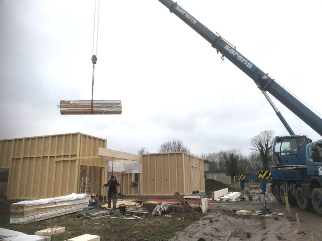 structure bois murs grue levage